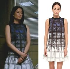 Elementary Season 2, episode 18: Click to find out who made Joan Watson's black, blue, and white windowpane-print/plaid drop waist dress #elementary #joanwatson