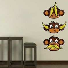Three Wise Monkeys Sticker | Moon Wall Stickers