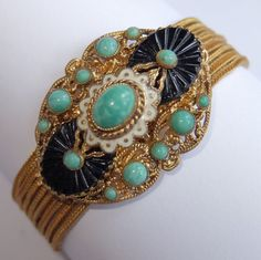 Vtg Art Deco MAX NEIGER Gold Gilt Green Art Glass Enamel Multi Chain Bracelet #MaxNeigerunsigned #MultiChain