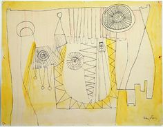 """William Baziotes """"Puppets"""" ink on paper. Robert Motherwell, Paint Photography, Art Database, Contemporary Artwork, Fabric Wallpaper, Art Forms, Surrealism, New York City, Vintage World Maps"""