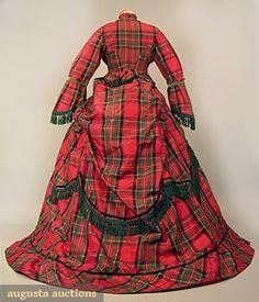 1871 Tartan dress with overskirt