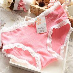e44c18652 Women s Panties Multicolored cotton Pleated Hem Briefs Meninas Usando  Calcinhas
