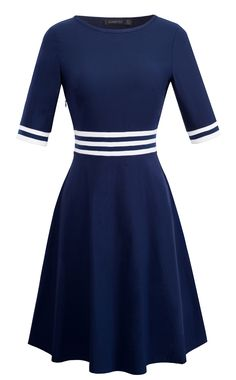 a7562a3a397 HOMEYEE Womens Crew Neck Half Sleeve Casual Flare Dress A059 10 Dark Blue      Continue to the product at the image link.(It is Amazon affiliate link)    ...