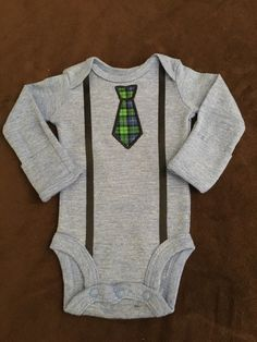 Infant Boy Onesie with Necktie Applique and Suspenders by MarysCottonShoppe on Etsy