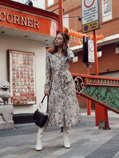 Create a contemporary and stylish look with this snake print maxi dress. Add some killer heeled boots to complete the look. Shirt Outfit, Dress Outfits, Dresses, Snake Print Dress, Killer Heels, Work Wardrobe, Printed Shirts, Heeled Boots, Contemporary