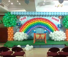 Diy Hot Air Balloons, Rainbow Balloons, Rainbow Theme, Rainbow Birthday, Birthday Party Planner, Birthday Party Venues, Baby Boy 1st Birthday Party, Birthday Parties, Birthday Balloon Decorations
