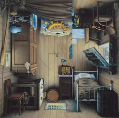 "Polish artist Jacek Yerka creates amazing surrealistic paintings called ""4siders"" that have a peculiar catch – by rotating each image, they reveal new places and landscapes that melt into each other"