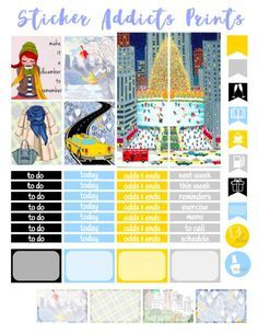 Free Printable Winter in the City Weekly Planner Stickers {PDF and Studio3 Files} from Sticker Addicts Anonymous Planner Pages, Weekly Planner, Glam Planner, Planner Ideas, Family Planner, Planner Diy, Happy Planner Kit, Free Planner, Ski