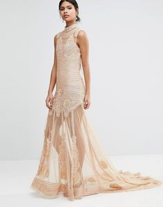 Image 1 of A Star Is Born Embellished Sheer Panel Maxi Dress