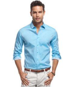 INC International Concepts Shirt, Long Sleeve Skeetch Shirt - Mens Casual Shirts - Macy's