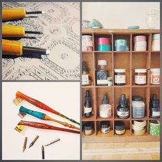 These are some of the tools I use to create my handmade products! Clockwise from the top left: carving tools and lino blocks for my art prints display of my calligraphy inks and washi tapes (there's a whole drawer full of more inks!) a few of my favourite nibs and holders for calligraphy. Besides this there's a bookshelf full of paper paints pens etc etc that cannot fit in this picture  Day 9 of the #WeBeTEST challenge: tools by papertrailsdesignco