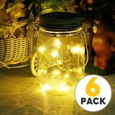 Tsv Solar Mason Jar Lid Lights 6 Pack 10 Led String Fairy Star Firefly Lids Best For Decor Patio Garden Laterns Table