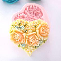 Molde+do+coração+3D+Flores+Silicone+Fondant+Moldes+Sugar+Craft+Moldes+de+chocolate+para+bolos+–+BRL+R$+11,39