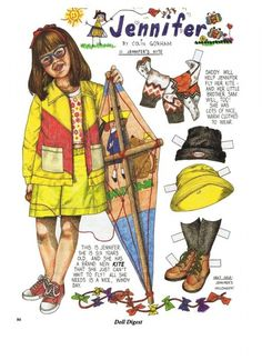 The Adventures of Jennifer by Colin Gorham - little girl with glasses paper doll - 6 years old with kite - Doll Digest