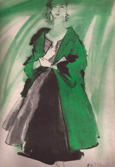 Illustration by René Bouche, Dress by Mollie Parnis.