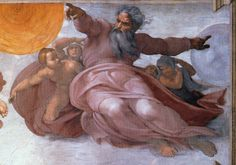 """Michelangelo, """"Creation of the Sun and Moon,"""" Sistene Chapel ceiling."""