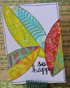 Circle Gelli Plate Monoprint Cards - Cut off Leaves/Feathers