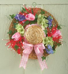 Fiber Optic Spring Floral Easter Bonnet Wall Decor