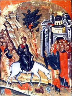 Palm Sunday icon. I've always loved the little boy in the tree, cutting the branches. (Also, it reminds me of Zachaius, who is one of my favorite NT people.)
