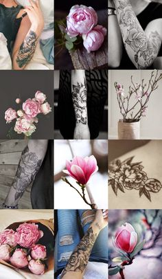 peonies, magnolias, arm tattoos