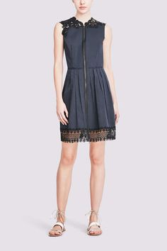 CADY DRESS IN NAVY POPLIN: A relaxed silhouette in pleated stretch poplin pairs with hand-applied lace trim along the shoulders and hem for a casual yet high-impact look.  FINAL SALE