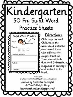 Sight Word sheets- great site need to go back and look more Two Fulbright Hugs ~ Teacher Time Savers: sight words Teaching Sight Words, Sight Word Practice, Sight Word Games, Sight Word Activities, Kindergarten Freebies, Kindergarten Reading, Kindergarten Teachers, Teaching Reading, Word Work