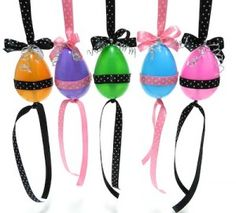 Polka dot ribbon is so much fun and adds a boutique and vibrant style to any craft project.Easter Eggs that can be placed in a window, on a door knob, peg board, and Easter tree.