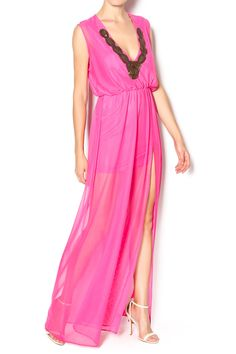 Pink maxi dress with a side slit elastic waist line, short lining and an embellished neckline.   Long Pink Dress by Le Beau Maroc . Clothing - Dresses - Maxi Florida
