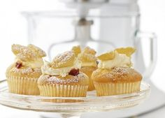 Fairy Cakes: There's nothing quite like a 'fairy cake'… especially with a dollop of jam hiding underneath the cream. Kitchen Aid Recipes, Baking Recipes, Cake Recipes, Yummy Treats, Sweet Treats, Yummy Food, Stand Mixer Recipes, Butterfly Cakes, Fairy Cakes