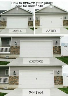 Just adding a little style to your garage doors will instantly transform them. You can actually give those doors the carriage house door look without spending hundreds on actual carriage house doors. - 49 Brilliant Garage Organization Tips, Ideas and DIY Projects