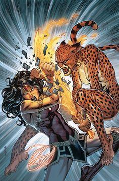 Wonder Woman vs Cheetah - DC Comics' August 2019 Solicitations - Year of the Villain Continues Wonder Woman Vs Cheetah, Wonder Woman Art, Wonder Woman Comic, Comic Books Art, Comic Art, Cheetah Dc Comics, Univers Dc, Arte Dc Comics, Mundo Comic