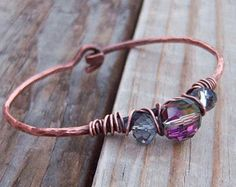 Copper Wire Wrapped Bracelet Glass/Bronze Glass Beads