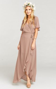 sophia wrap dress by Show Me Your Mumu. Floaty wrap styling highlights the ethereal nature of a drapey flutter-sleeve dress cut from featherlight crepe. Bridesmaid Inspiration, Mom Dress, Gowns With Sleeves, Estilo Boho, Formal Dresses For Women, Dress Cuts, Nordstrom Dresses, Cheap Dresses, Dress To Impress