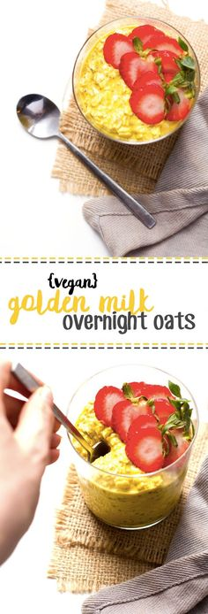 Golden Milk Overnight Oats from Healthy Helper.These Golden Milk Overnight Oats are hearty and filling! In addition to being vegan and gluten-free, they're packed with health benefits thanks to turm Sin Gluten, Vegan Gluten Free, Vegan Breakfast Recipes, Vegan Recipes, Breakfast Ideas, Free Recipes, Juice Recipes, Vegan Overnight Oats, Plant Based Breakfast