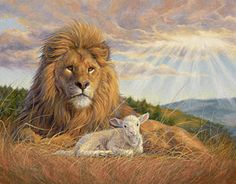 """""""The Dawning of a New Day"""", oil on canvas, inches x 21 inches, by Lucie Bilodeau. A painting of a male African lion with a white lamb resting together. Framed Art Prints, Poster Prints, Birth Art, Lion And Lamb, Tribe Of Judah, Prophetic Art, Great Paintings, Oil Paintings, Thing 1"""