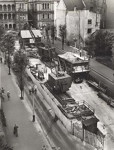 Martin Place Railway Station - looking towards Sydney Hospital - construction work underway. Dated: 24/10/1951. Digital ID: 17420_a014_a0140001047r. Rights: www.records.nsw.gov.au/about-us/rights-and-permissions