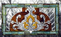 THE AMBER CROWN Stained Glass Transom Window TU-20 | eBay