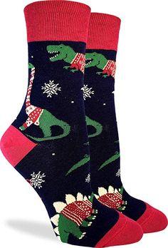 9f6541fcb53 Amazon.com  Good Luck Sock Women s Christmas Sweater Dinosaur Socks - Blue