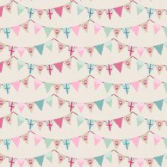 Fryett's Fabrics - Laminate Bunting Pink - laminated cotton fabric