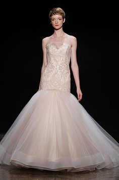 Soft Peach Color Wedding Dress Lazaro Spring 2017 Colored Gowns Pink