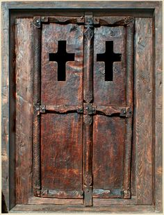 Wine Cellar Entry Constructed with Antique Carved Door and Reclaimed Douglas Fir 61039C Rose