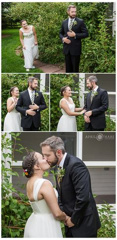 Cute bride walks up to her groom for a first look moment together before doing pictures outside of the wrap around porch at Denver Botanic Gardens at Chatfield in Colorado. - April O'Hare Photography http://www.apriloharephotography.com #ChatfieldBotanicGardens #ColoradoWedding #BarnWedding #FarmWeddingPhoto #OutdoorWedding #DenverWeddingPhotographer #FarmWedding #GardenWedding #FirstLook