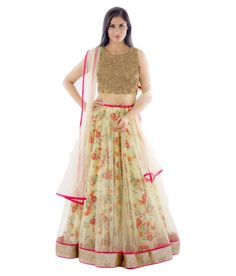 Buy This Beautiful Floral Printed White World Women's Fabric Net Lehenga Choli In your Budget  Only On @LooksGud #Floral #Printed #ethnic