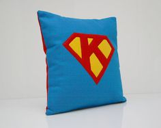 Superhero Pillow Cover - Superman Pillow Cover - Personalized Pillow Cover (Pillow Insert Not Included). $39.00, via Etsy.
