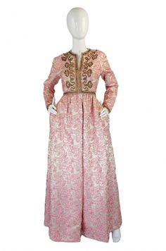 1950s Pink Brocade Ceil Chapman Gown