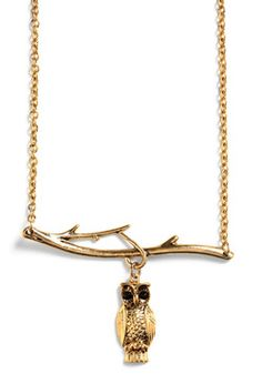 owl/branch vintage-style necklace