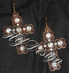 Earring, Blang Crosses. Copper & Crystal Rhinestones. #HYD