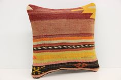 Antique Kilim pillow cover 12 x 12 Wool Pillow by kilimwarehouse