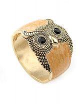 Owl Light Brown Crystal Vintage Bangle $14.24