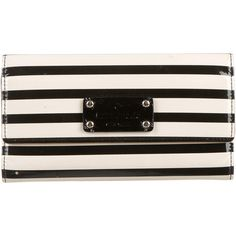 Pre-owned Kate Spade New York Striped Patent Leather Wallet ($65) ❤ liked on Polyvore featuring bags, wallets, neutrals, snap closure wallet, kate spade, patent leather wallets, zip coin pouch and coin pouch